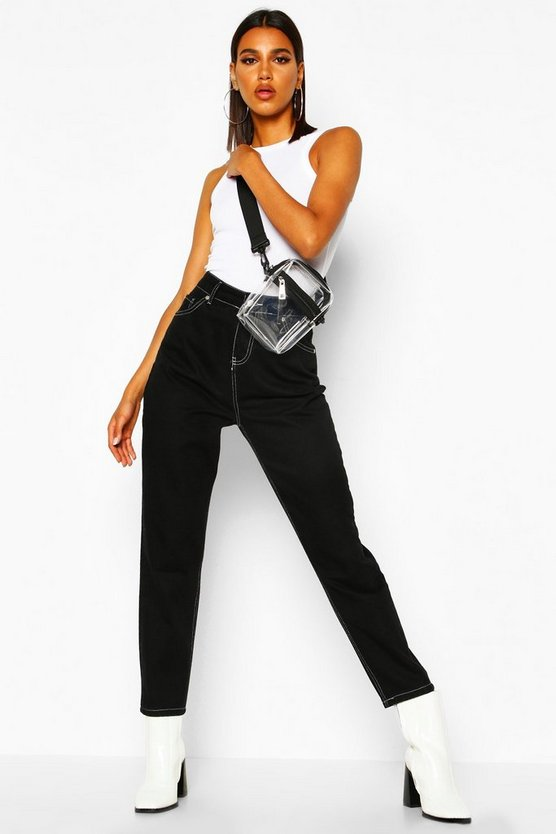 High Rise Contrast Stitch Mom Jean by Boohoo
