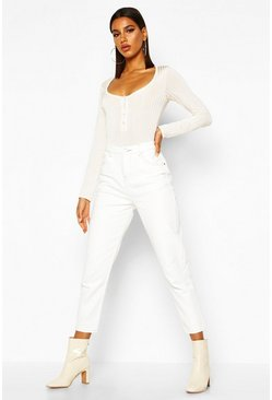 Womens White High Rise Contrast Stitch Mom Jean