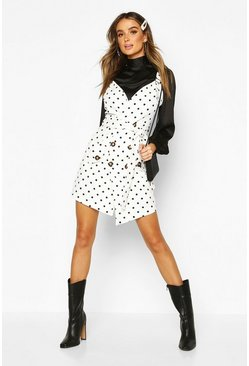 White Denim Polk Dot Pinafore Dress