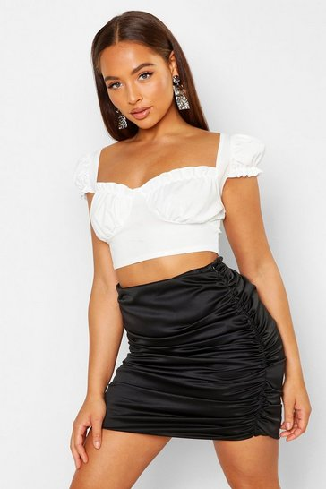 Womens Black Satin Ruched Mini Skirt