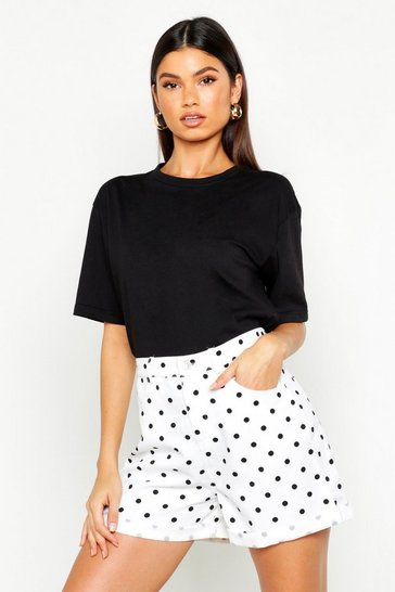 Womens White Polka Dot Mom Short