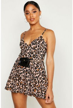 Womens Leopard Print Cami Playsuit