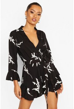 Womens Black Floral Ruffle Wrap Playsuit