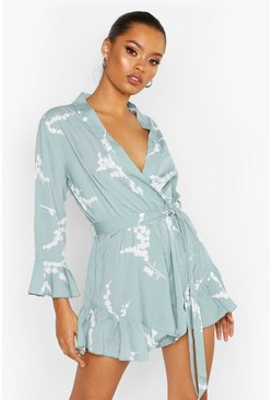 Womens Sage Floral Ruffle Wrap Playsuit