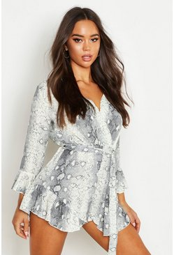Grey Snake Print Ruffle Wrap Playsuit
