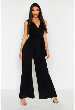 Womens Black Pleated Wide Leg Wrap Jumpsuit