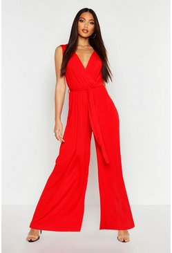 Womens Red Pleated Wide Leg Wrap Jumpsuit