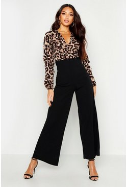 Womens Black Wrap Front Leopard Print Wide Leg Jumpsuit
