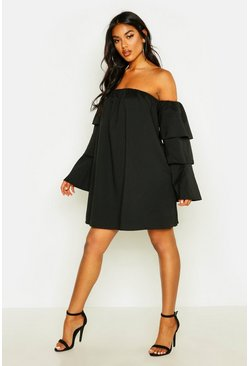 Womens Black Off The Shoulder Ruffle Swing Dress