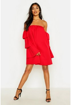 Womens Red Off The Shoulder Ruffle Swing Dress