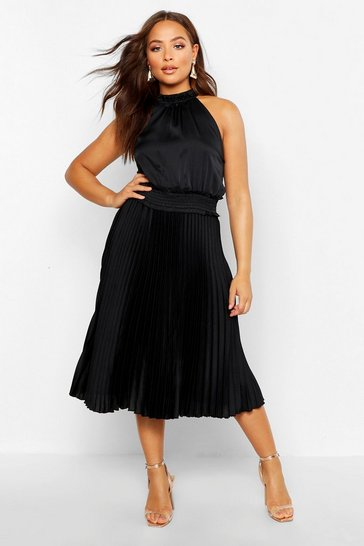 Womens Black Pleated Skirt Satin Midi Skater Dress