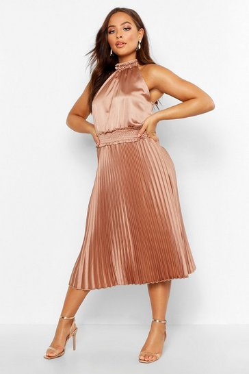 Womens Rose Pleated Skirt Satin Midi Skater Dress