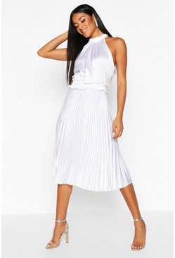 White Pleated Skirt Satin Midi Skater Dress