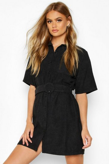 Womens Black Cord Belted Shirt Dress
