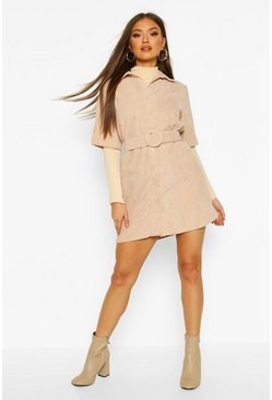Womens Nude Cord Belted Shirt Dress