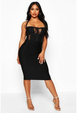 Womens Black Boutique Sculpting Bandage Mesh Insert Cup Midi Dress