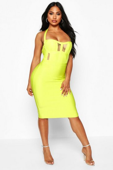 Womens Lime Boutique Sculpting Bandage Mesh Insert Cup Midi Dress