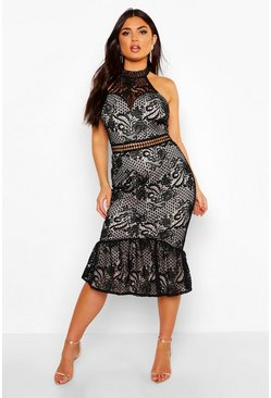 Black Lace Halterneck Fishtail Midi Dress