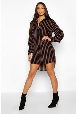 Womens Black Oversized Dipped Hem Stripe Shirt Dress