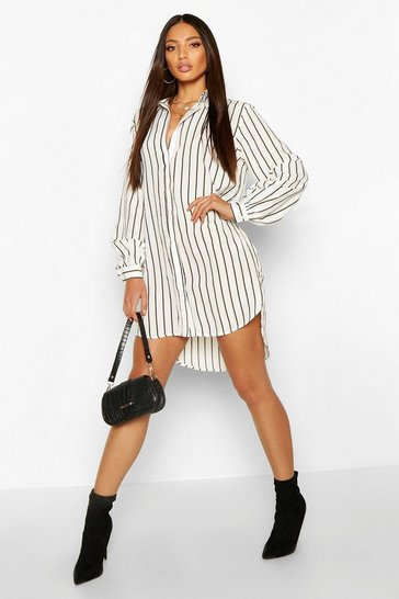 Womens White Oversized Dipped Hem Stripe Shirt Dress