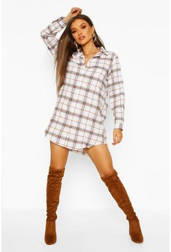 White Oversized Dipped Hem Check Shirt Dress