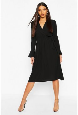 Black Wrap Split Midi Dress