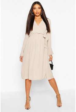 Womens Champagne Wrap Split Midi Dress