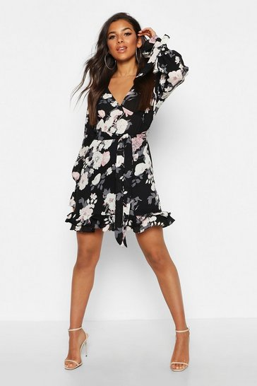 Black Floral Print Plunge Ribbon Tie Mini Dress