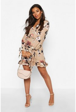 Womens Nude Floral Print Plunge Ribbon Tie Mini Dress