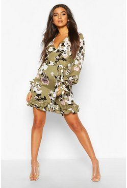 Sage Floral Print Plunge Ribbon Tie Mini Dress