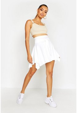 Womens Ivory Tie Front Ribbed Skater Skirt