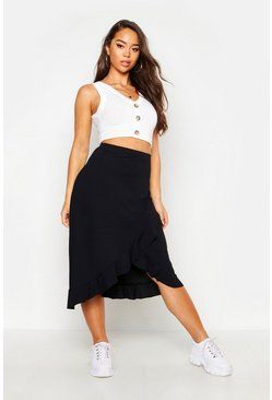 Black Ruffle Hem Ribbed Midi Skirt