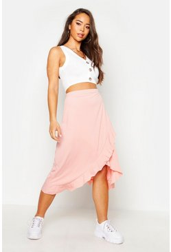 Womens Peach Ruffle Hem Ribbed Midi Skirt