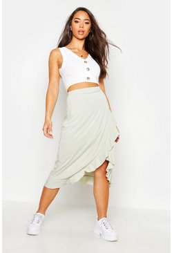 Womens Sage Ruffle Hem Ribbed Midi Skirt