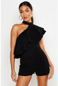 Womens Black One Shoulder Ruffle Playsuit