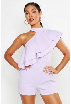 Lilac One Shoulder Ruffle Romper