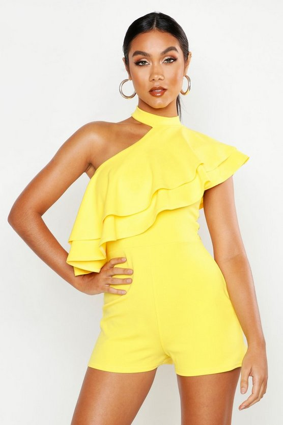 Womens Yellow One Shoulder Ruffle Playsuit