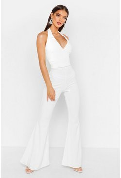 Womens White Plunge Wrap Flare Jumpsuit
