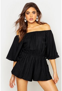 Black Volume Sleeve Mix Playsuit