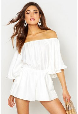Womens White Volume Sleeve cotton Mix Playsuit