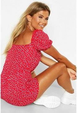 Womens Red Square Neck Polka Dot Woven Playsuit