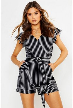 Womens Black Tailored Ruffle Stripe Playsuit