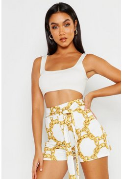 Womens White Belted Chain Print Woven Short