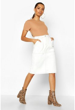 Womens Ecru Utility Contrast Stitch Denim Midi Skirt