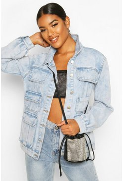 Womens Light blue Acid Wash Multi Pocket Denim Jacket