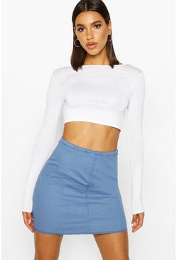 Womens Mid blue Power Stretch Denim Skirt