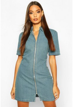 Womens Light blue Zip Through Denim Dress