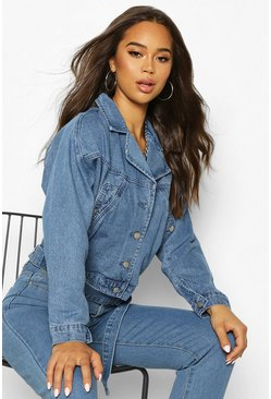 Womens Mid blue Oversized Biker Denim Jacket