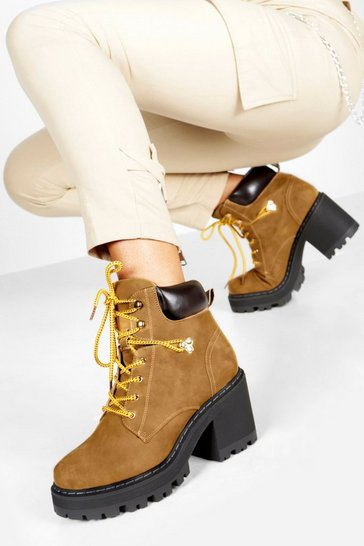 Womens Tan Padded Cuff Block Heel Chunky Hiker Boots