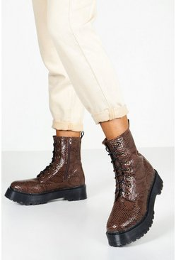 Womens Brown Snake Chunky Platform Hiker Boots